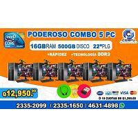 COMBOS COMPLETOS DE 05 COMPUTADORAS HP, CON 16GB DE RAM, 05 MUEBLES+05 AUDIFONOS, A Q 12,950.00